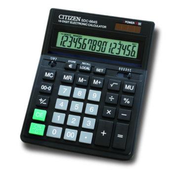 Калкулатор Citizen SDC-664S, автоматично изключване, преобразуване в евро валута, черен image