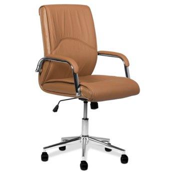 Офис стол Carmen 6060, еко кожа, подлакътници, газов амортисьор, регулируем люлеещ механизъм, кафяв image