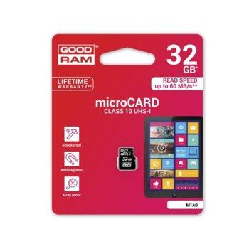 Карта памет 32GB microSDHC, Goodram M1A0-0320R11, Class 10 UHS-I, скорост на четене 60 MB/Sec, скорост на запис 10 MB/Sec image
