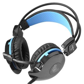 Слушалки AULA Succubus, микрофон, гейминг, 40мм мембрани, LED подсветка, USB, черни image