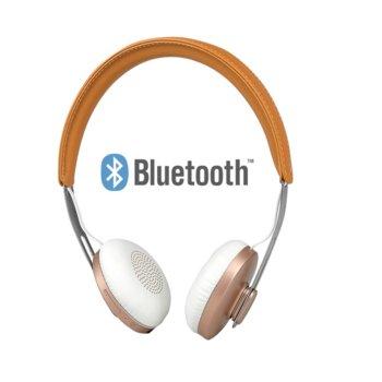 Слушалки Microlab T3, безжични, микрофон, кафяви image