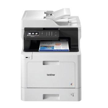 """Мултифункционално лазерно устройство Brother DCP-L8410CDW, цветен, принтер/копир/скенер, 2400 x 600 dpi, 31 стр/мин, USB, 9.3""""(23.6 cm) цветен сензорен дисплей, LAN1000, Wi-Fi, ADF, двустранен печат, A4 image"""