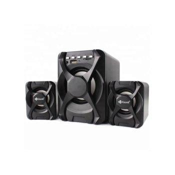 Тонколони Kisonli U-2500BT, 2.1, 11W RMS, Bluetooth/AUX/USB/SD Card, Черен image