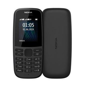 """GSM Nokia 105 (2019)(черен), поддържа 2 sim карти, 1.7"""" (4.31 cm), TFT дисплей, 4MB RAM, 4MB Flash памет, Nokia OS, 73g image"""