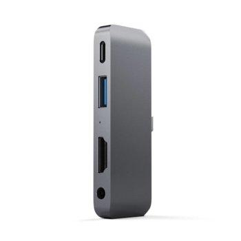 USB Хъб Satechi Mobile Pro, 1x USB Type C (м), 1x USB Type-C (ж), 1x USB 3.0 Type-A (ж), 1x HDMI 4k (ж), 1x 3.5mm jack, тъмносив image