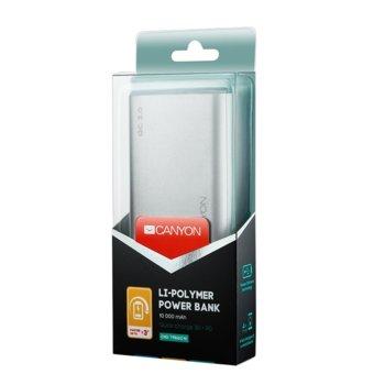 Външна батерия /power bank/ Canyon CND-TPBQC10S 10000 mAh, 5V/2A, 9V/2A, micro USB, USB Type C, сребриста, Qiuck Charge 3.0 image