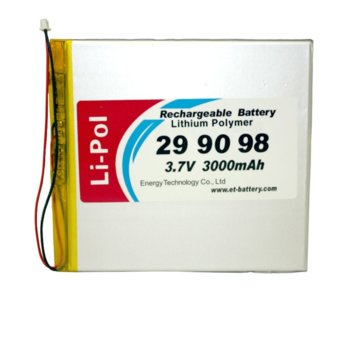 Литиева батерия LP299098-PCM, 3.7V, 3000mAh, Li-polymer, 1бр., PCM защита image