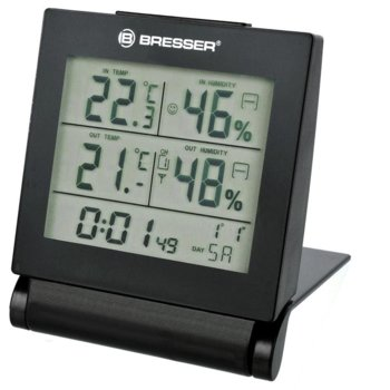 Електронна метеостанция Bresser MyTime Travel Alarm Clock, показване на вътрешна и външна влажност, индикатор за климата на стаята, черна image