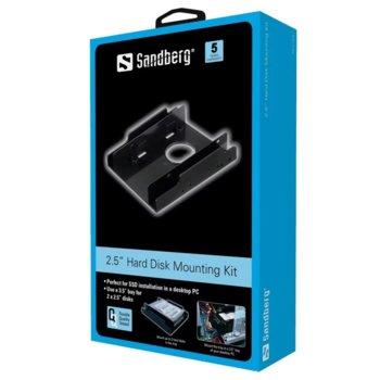 "Преходник (mounting bracket) Sandberg SNB-135-90, от 2x 2.5"" към 3.5"" за SSD/HDD, метален, черен image"