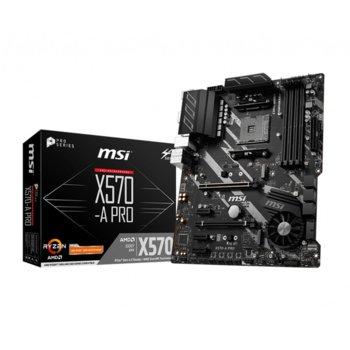 Дънна платка MSI X570-A PRO, X570, AM4, DDR4, PCIe 4.0 (HDMI)(CF), 4x SATA 6Gb/s, 2x M.2 slot, 6x USB 3.2 Gen 1, ATX  image
