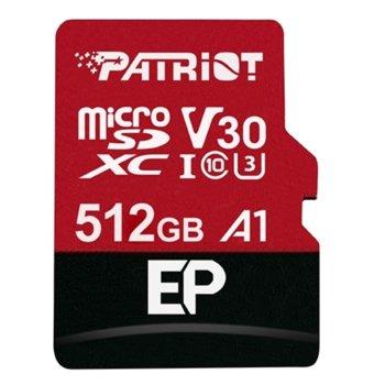 Карта памет 512GB microSDXC с адаптер, Patriot EP Series (PEF512GEP31MCX), Class 10 U3, скорост на четене 90MB/s, скорост на запис 80MB/s image