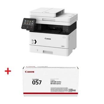 Мултифункционално лазерно устройство Canon i-SENSYS MF449x в комплект с тонер касета Canon CRG-057, монохромен, принтер/копир/скенер/факс, 600 x 600 dpi, 38стр./мин, USB, LAN, Wi-Fi, A4 image