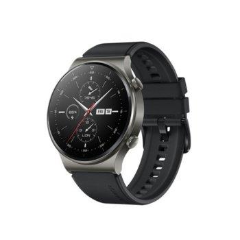 "Смарт часовник Huawei Watch GT 2 Pro (Night Black), 1.39"" (3.53 мм) AMOLED дисплей, 4GB памет, до 14 дни живот на батерията, водоустойчив, Bluetooth, безжично зареждане, черен с Black Fluoroelastomer каишка image"
