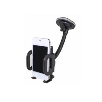 Универсална стойка HKC09, за автомобил, закрепяне на стъкло или гладки повърхности, дълго рамо, черна image