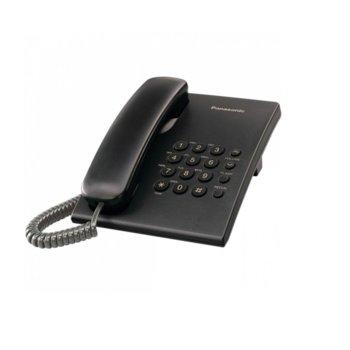 Стационарен телефон Panasonic KX-TS500, бутон за повторно набиране, високоговорител, черен image