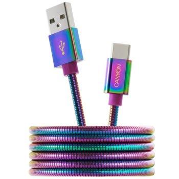 Кабел Canyon, от USB A(м) към USB Type C(м), 1.2m, цветен image