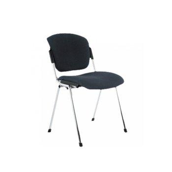 Посетителски стол Era Chrome Black, дамаска, хромирани крака, черен image
