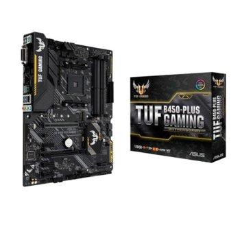 Дънна платка Asus TUF B450-PLUS GAMING, B450, AM4, DDR4, PCI-E (DVI-D & HDMI), 6x SATA 6Gb/s, 1x M.2 slots, 2x USB 3.1 Gen 2, ATX image