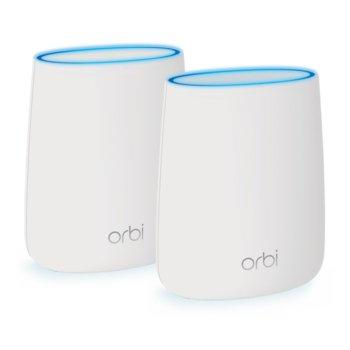 Wi-Fi система(2x бр.) Netgear Orbi AC2200 Tri-band WiFi, 2350Mbps, 2.4GHz(400Mbps)/5GHz(866Mbps + 866Mbps), Wireless AC, 3x LAN1000, 1x WAN1000, 4x вътрешни антени, 256MB Flash памет, 512MB RAM, Voice Control image