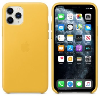 Калъф за Apple iPhone 11 Pro, естествена кожа, Apple Leather Case MWYA2ZM/A, жълт image