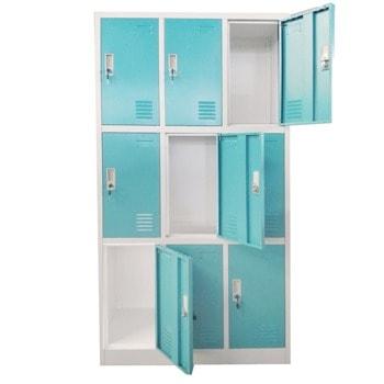 Метален шкаф RFG DZX-076/RAL5018, 9x шкафове, прахово боядисан, метален, заключване, вентилационен отвор, сив/светлосин image