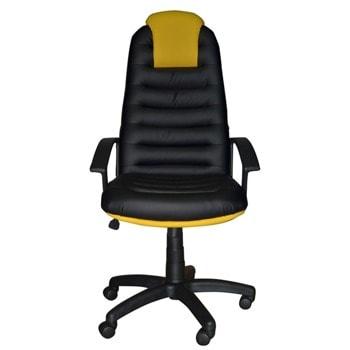 Директорски стол Tunis (TUNISPCOMD-5/H-2240), до 120кг. макс. тегло, екокожа, пластмасова база, Tilt механизъм, пластмасови подлакътници, черно-жъл image