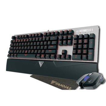 Комплект клавиатура и мишка, подложка Gamdias Hermes E1, гейминг, мишка оптична (3200 dpi), подсветка, USB, сиви image