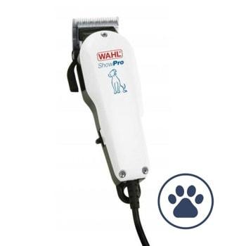 Машинка за подстригване на кучета Wahl ShowPro (09265-2016), тиха работа за чувствителни към шум животни, лесно регулиране на дължината на рязане, самозаточващи се остриета, бяла image