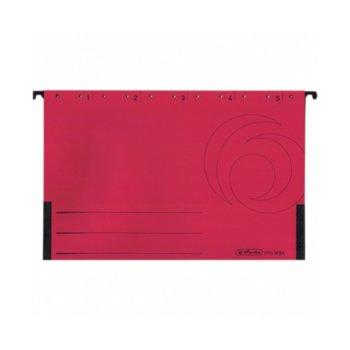 Папка картотека Herlitz Easyorga, V-образна, изработена от картон, с метални шини, червена, 5бр. в опаковка image