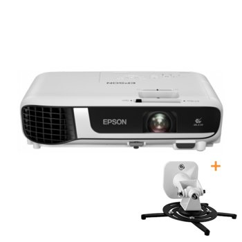 Проектор Epson EB-W51 с подарък стойка за проектор One For All WM5320, 3LCD, WXGA (1280 x 800), 16 000 : 1, 4000 lm, HDMI, VGA, USB image