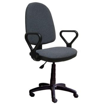 Работен стол Prestige GTP, до 120кг, дамаска, пластмасова база, коригиране височина, регулиране на дълбочината на седене, тъмносив image