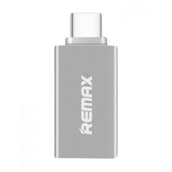 Преходник Remax от USB C(м) към USB3.0 A(ж), OTG, сребрист image