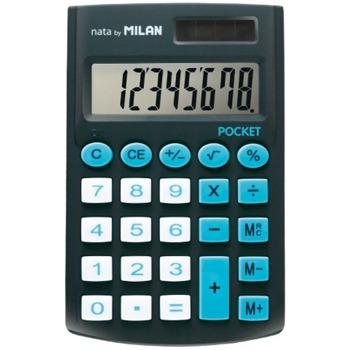 Калкулатор Milan Pocket, 8 разряден дисплей, джобен, 3 memory бутона и функция корен квадратен, автоматично изключване, черен image