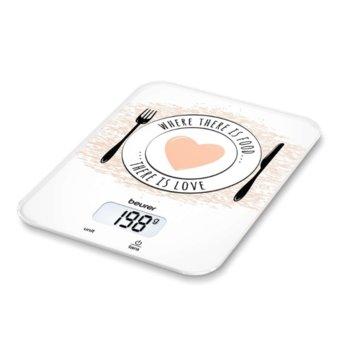 Цифров кухненски кантар Beurer KS 19 love kitchen scale, капацитет 5 кг, LCD дисплей, с включена батерия, бял image