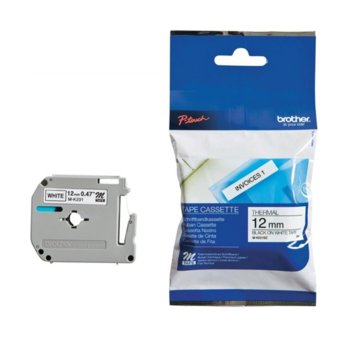 Лента за етикетни принтери (разопакована) Brother ТИП M - 12 mm BLACK ON WHITE TAPE - P№ MK231BZ image