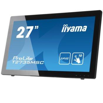 """Монитор IIYAMA Prolite T2735MSC-B2, 27"""" (68.58 cm) AMVA тъч панел, FullHD, 6 ms, 12000000:1, 300 cd/m2, HDMI, DVI, VGA image"""