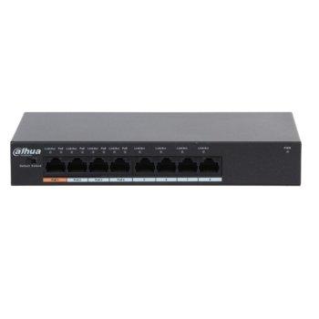 Суич Dahua PFS3008-8ET-60, 4x 10/100 ports(PoE), 4x 10/100 ports, оптимизиран за системи за видеонаблюдение image