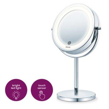 Козметично огледало Beurer BS 55, 2 огледала (нормално и с 7 степенно увеличение), 13 см, LED свелина с 18 LED диода, автоматично изключване след 15 мин., с touch сензор, със стойка, сребристо image