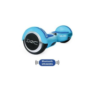Ховърборд Nilox DOC Plus Sky Blue, до 10км/ч скорост, 20км макс. пробег, до 100кг, 2x 240W двигатели, Bluetooth 2.1 говорители, син image