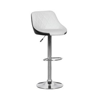 Бар стол Carmen, 3080, хромирана основа и мека, кожена седалка, газов амортисьор за коригиране на височината и степенка, бяло черен image