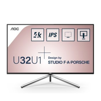 "Монитор AOC U32U1, 31.5"" (80.01 cm) IPS панел, 4K/UHD, 5 ms, 50000000:1, 600 cd/m2, DisplayPort, HDMI, USB HUB image"