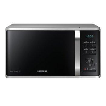 Микровълнова фурна Samsung MG23K3575AS/OL, с грил, електронно управление, 800 W, 23 л. обем, 6 степени на мощност, черна/сребриста image