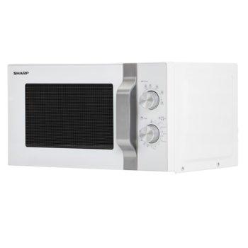 Микровълнова фурна Sharp R204W, механично управление, 800W, 20л обем, 6 нива на мощност, бяла image