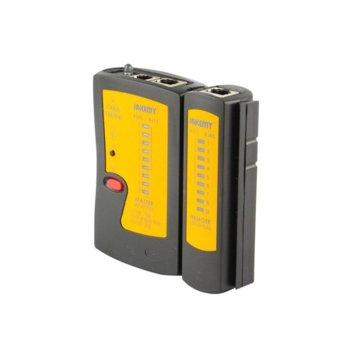 Тестер за LAN кабели Jakemy JM-468, RJ45, RJ11, LED фенер, черен image