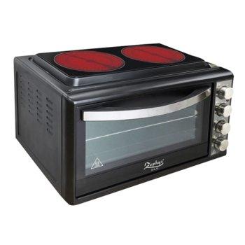 Готварска печка Zephyr ZP 1441 B38IR, 2 нагревателни зони, 38 л. вместимост на фурната, механично управление, черна  image