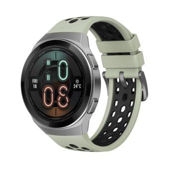 "Смарт часовник Huawei GT2e Hector-B19C, 42mm, 1.39"" (3.53 cm), Bluetooth, 4GB RAM, 16GB ROM, водоустойчив, iOS/Android, сребрист със зелена каишка image"