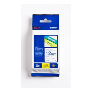 ЛЕНТА ЗА ЕТИКЕТНИ ПРИНТЕРИ BROTHER ТИП TZ - 12mm BLUE ON WHITE TAPE, Laminated - P№TZE233 image