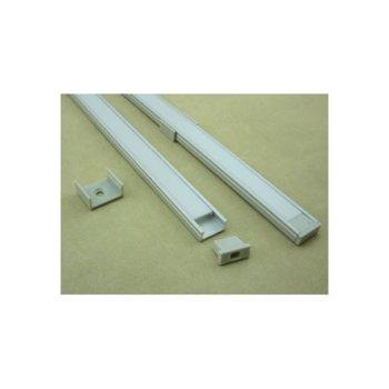 LED алуминиев профил M1506A-SF, 15x6mm, 2m дължина, за ленти до 10mm  image