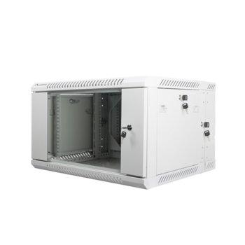 "Комуникационен шкаф Lanberg WF02-6606-10S, 19"", 6U, 600 x 600 x 374.3 mm, сив image"