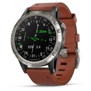 """Смарт часовник Garmin D2 Delta, стоманен, 1.2"""" (30.4 мм) дисплей, до 12 дни работа, Bluetooth, Wi-Fi, кафяв image"""